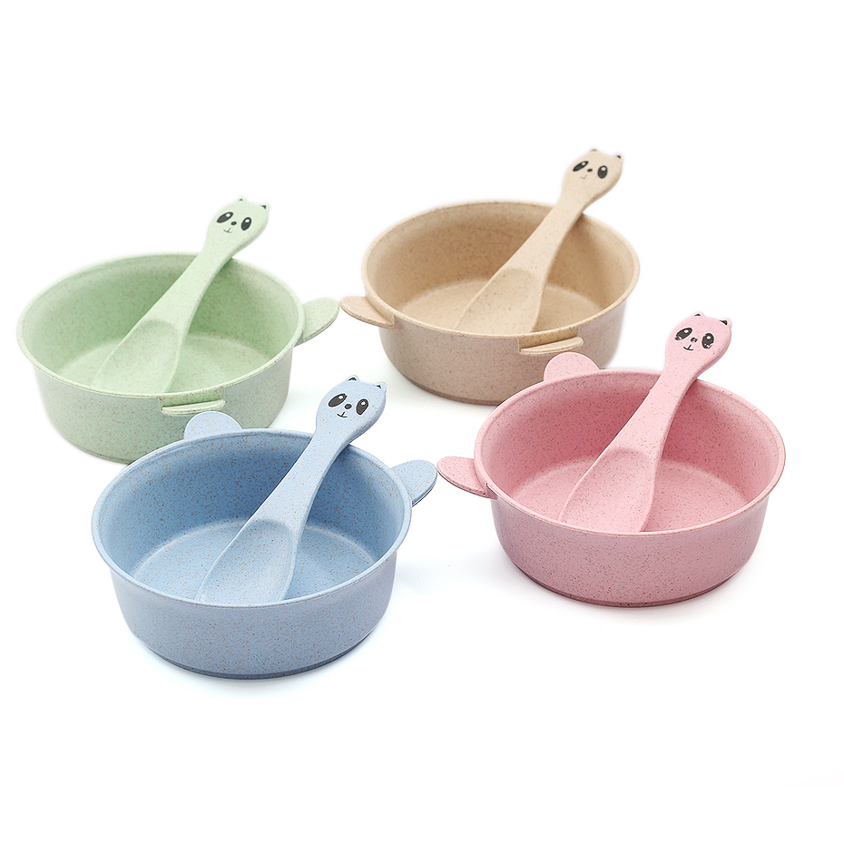 Children's Tableware Children Feed Bowls Of Baby Dishes With Spoons Pure Color Food Containers Children's Tableware