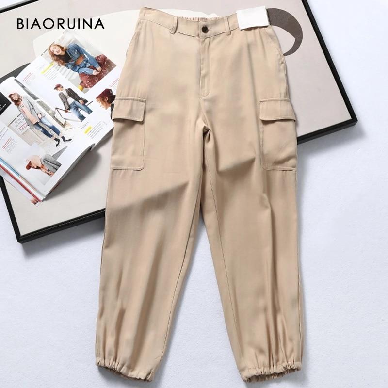 Biaoruina Pantalones Estilo Safari Para Mujer Color Solido Informales Sueltos Para Combinar Con Todo Pantalones Salvajes Para Mujer Cintura Alta Elastica Pantalones De Carga Para Todos Los Dias Pantalones Y Pantalones Capri