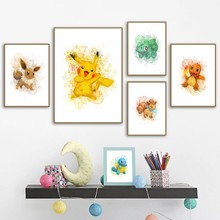 Kids Room Decor Pokemon Watercolor Wall Art Canvas Posters Painting Eevee Squirtle Wall Pictures Print Painting Home Decoration(China)