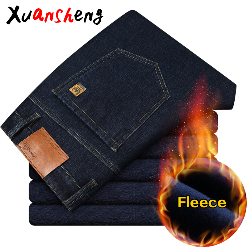 Xuansheng Fleece Men's Jeans 2019 Straight Winter Classic Business Casual Thickening Stretch Brand Long Pants Blue Black Jeans
