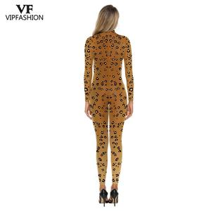 Image 3 - VIP FASHION 3D Animal Leopard Print Pattern Halloween Cosplay Costume For Women Purim Festival Bodysuits Jumpsuits