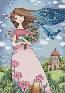 Image 1 - Комплект для вышивки крестиком t Birds, цветущий персик и птицы, хлопковая Вышивка крестиком, мечты подружек