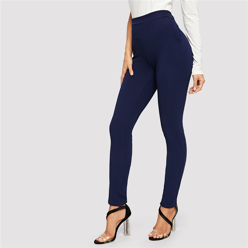 SHEIN Elastic Waist Mid Waist Skinny Trousers Autumn Office Lady Elegant Slim Fit Vertical Women Pencil Pants 20