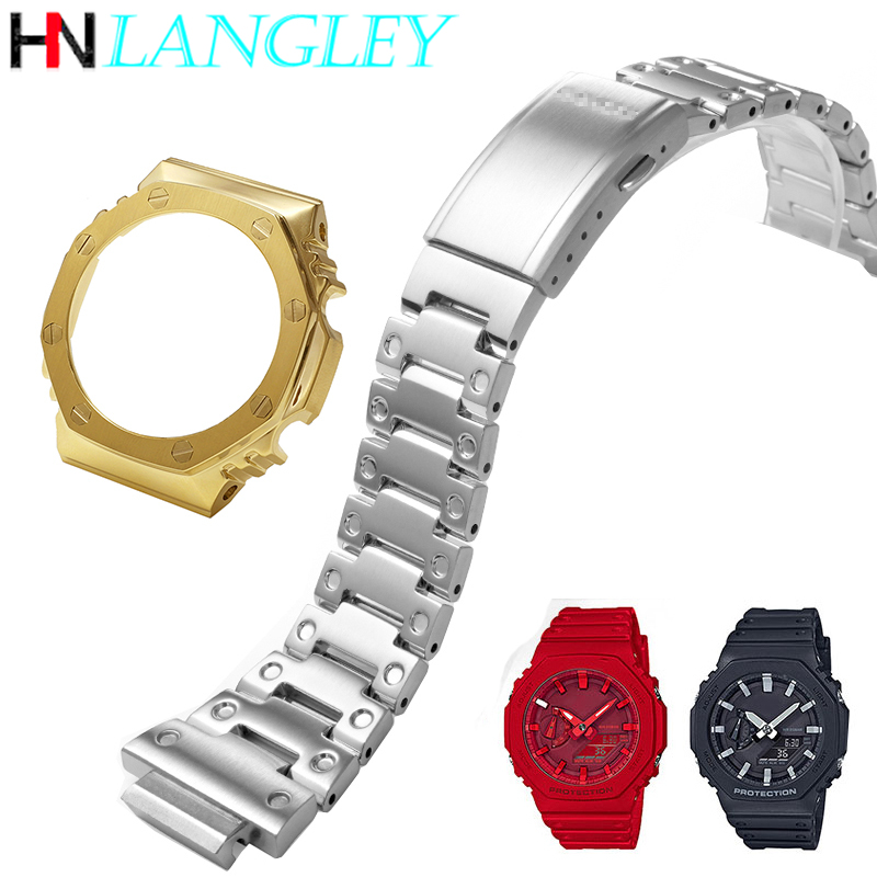 Refit Remodel For GA-2100 Watch Band Strap Bezel And Case 316L Stainless Steel Metal Steel Belt With Tools Watchband GA2100