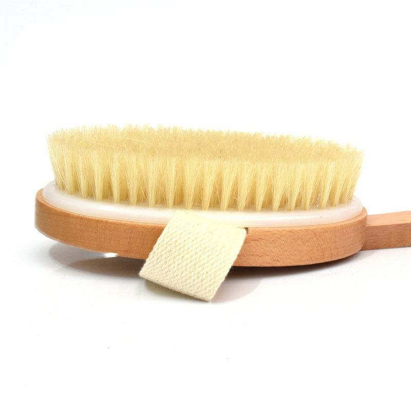 New Natural Long Wooden Bristle Body Brush Massager Bath Shower Back Spa Detachable Scrubber SCI88