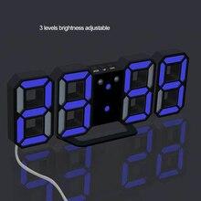 3D светодиодный цифровой будильник, светящиеся часы в ночном режиме, электронные настольные часы, 24/12 часовой дисплей, будильник, настенные часы