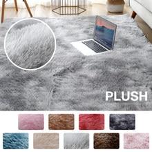 Alfombra de felpa para sala de estar, tapete esponjoso, grueso, antideslizante y suave, color gris, estilo Tie Dying Velvet, también para habitación de niños