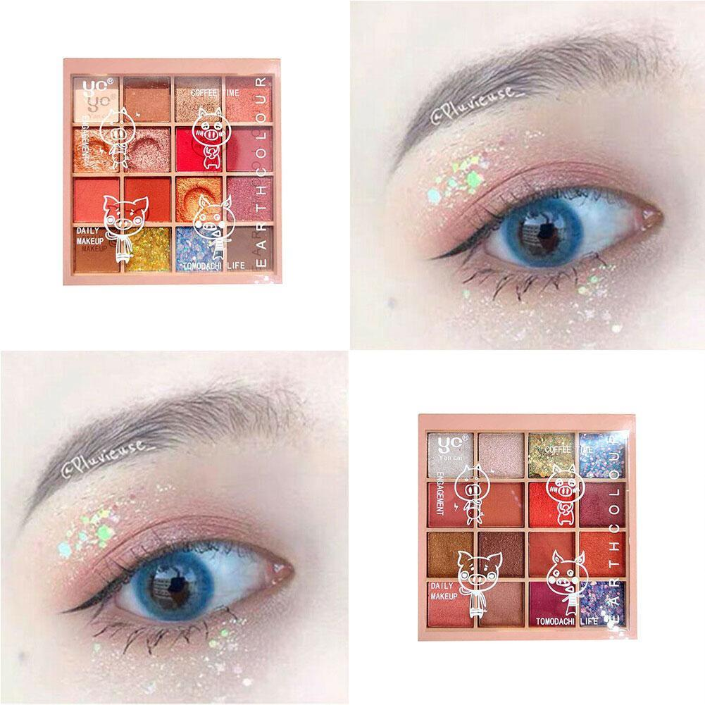 New Fashion Glitter Eyeshadow 16 Colors Eye Shadow Makeup Palette Eyeshadow Makeup Metallic Palette E0H0