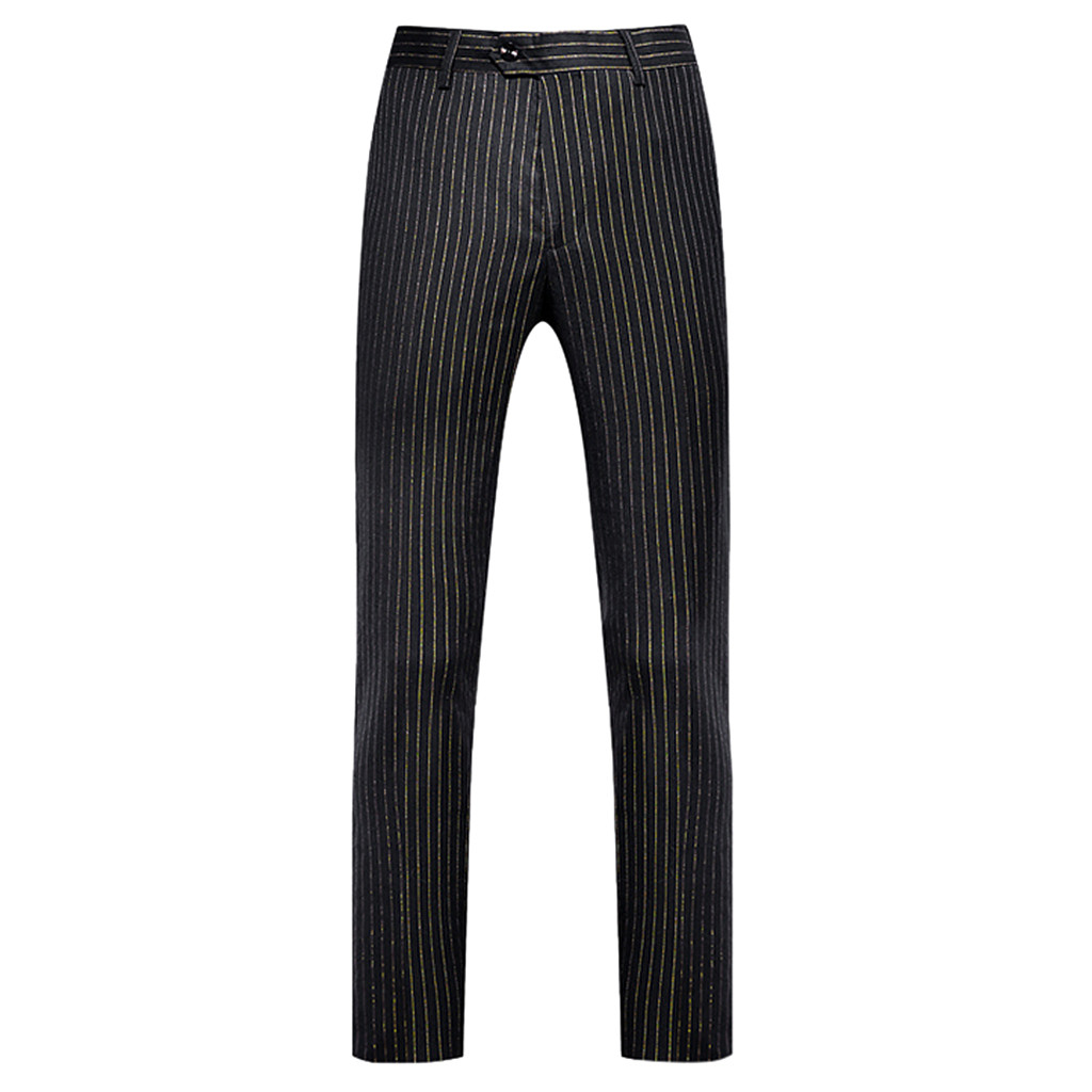 Suit Trousers Pants Check Slim-Fit Classic Wedding Business Casual Korean Stripe Perfume