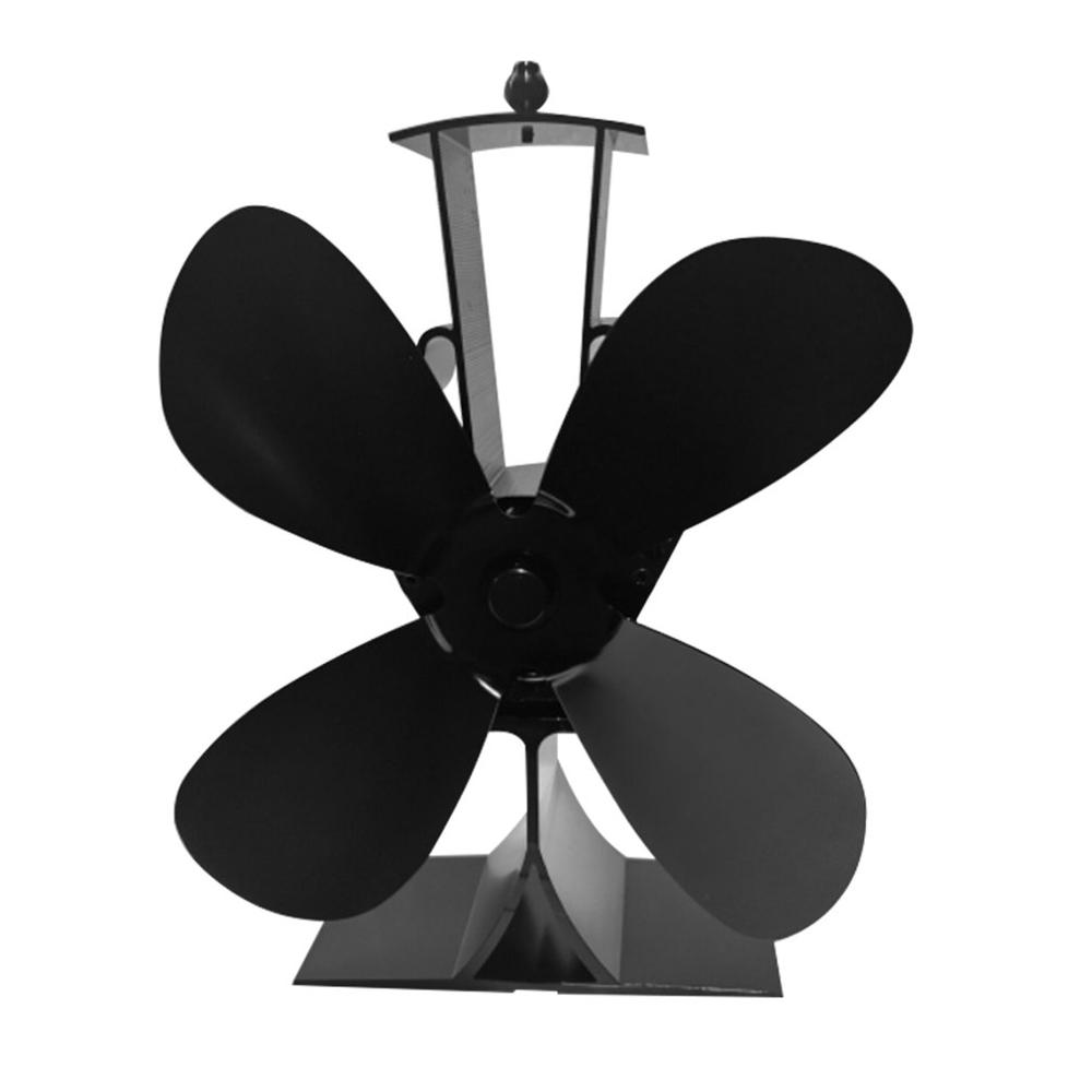 Fireplace 4 Blade Heat Powered Stove Fan Log Wood Burner Eco Friendly Quiet Fan Home Efficient Heat Distribution Hot Fan