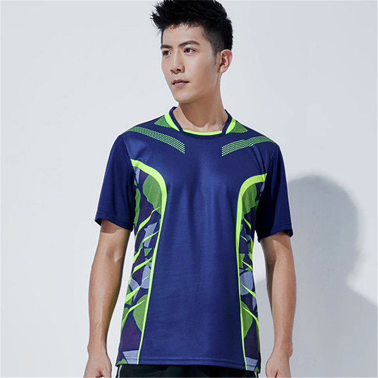 Быстросохнущая, впитывающая пот и дышащая рубашка для бадминтона, топ для соревнований, тренировочный костюм для бега, мужской и женский короткий рукав - Цвет: 1809Amale1