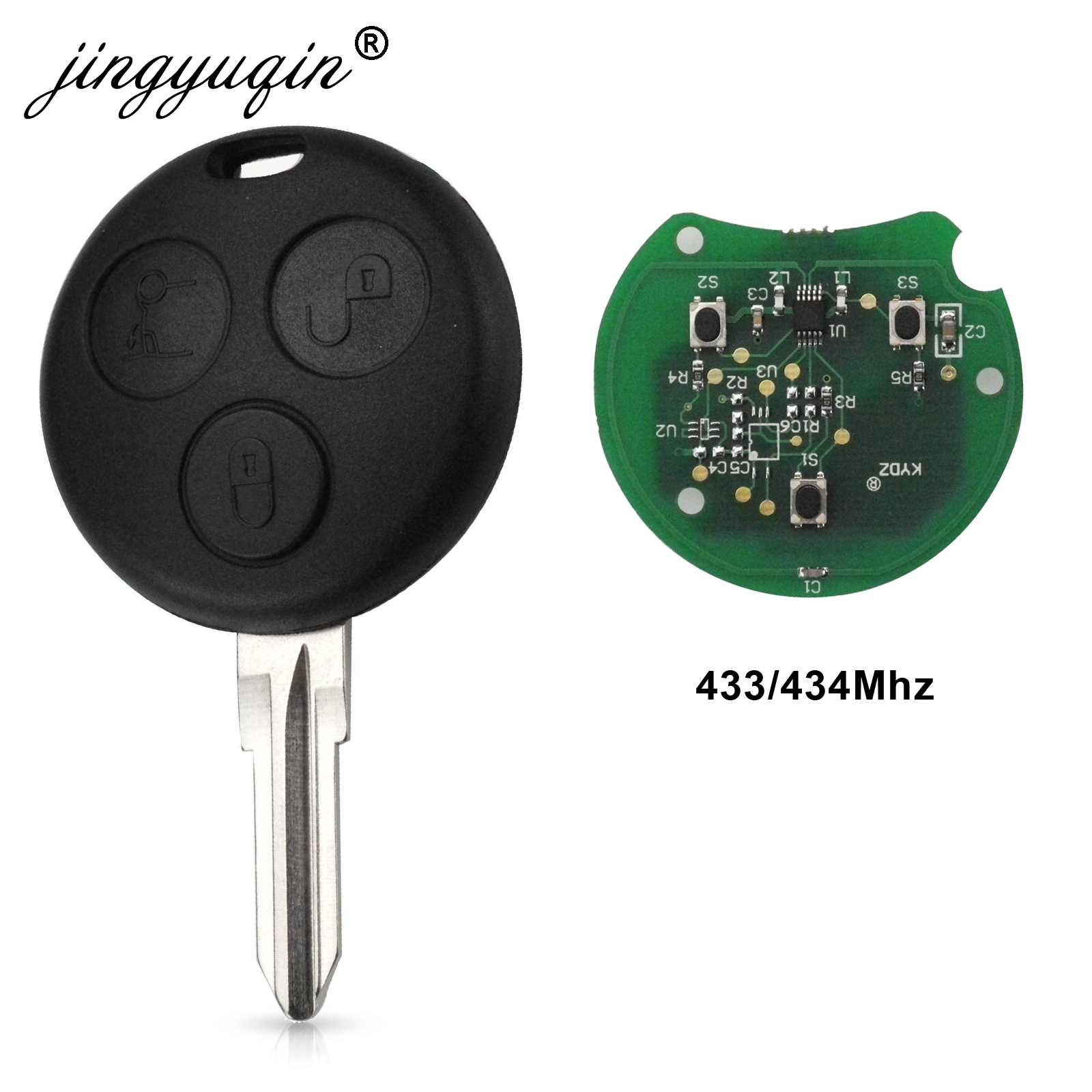 Jingyuqin For Mercedes Benz <font><b>Smart</b></font> City <font><b>Fortwo</b></font> Roadster <font><b>450</b></font> Remote Key Cover Case 3 Buttons 433MHz Replacement Fob image
