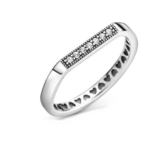 Pre-Autumn New 2020 Signature Sparkling Brand Bar Stacking Ring Heart Shape Women Engagement Jewelry Making Wedding Rings