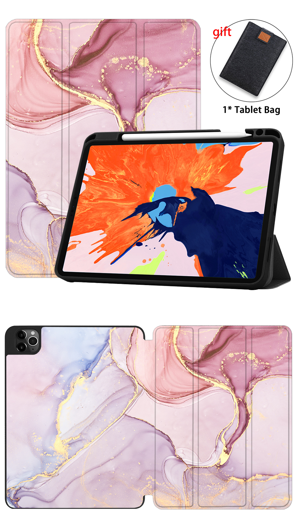 2020 Tablet iPad MTT inch TPU+PU Pro Stand For Leather Generation 12.9 Soft 4th Case Flip