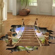 3D Floor/Wall Sticker Removable Bridge Mural Decals Vinyl Art Living Room Decor Wall Stickers blue sky 3d mordern wallpapers floor sticker removable mural decals vinyl art star sky ground ceiling stickers decal home decor