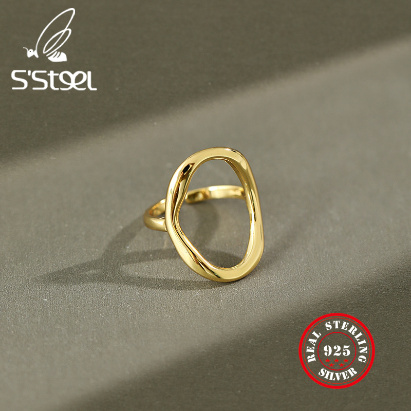 Irregular Hollow Out Ellipse 925 Sterling Silver Rings For Women Resizable Handmade Bague Femme Argent 925 Accesorios Jewelry