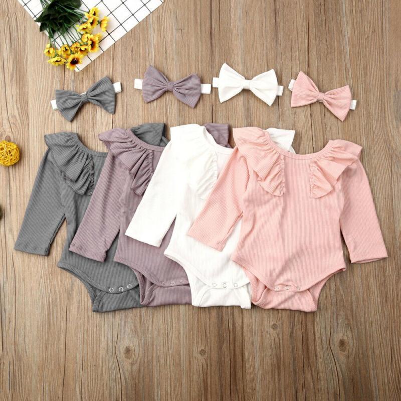 Cute Newborn Baby Boy Girls Long Sleeve Ruffles Rompers Unisex Cotton Baby Bodysuit+Headband Kids Clothes Bebe Leotard Body Tops