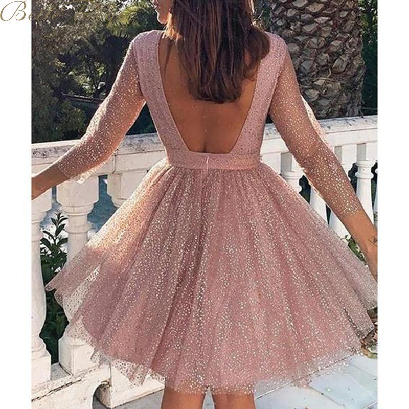 belle poque o neck long sleeve sequined party dresses women Sexy lace streetwear midi dress female 2020 spring dress vestido 4