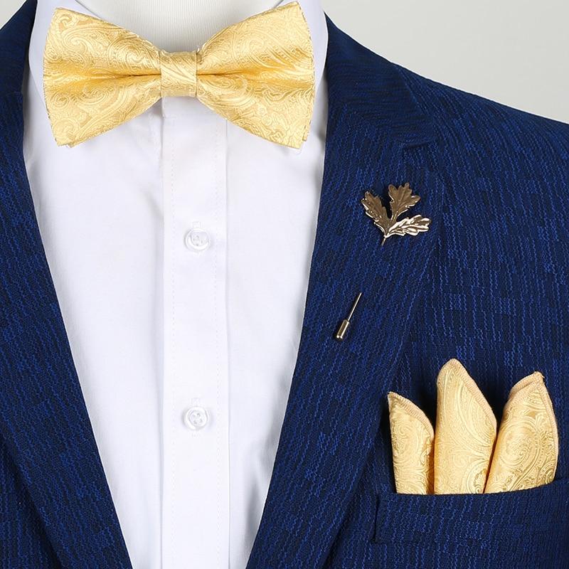 Luxury Gold Silk Bow Ties For Men Fashion Men's Yellow Bowtie Handkerchief Brooch Set Butterfly Noeud Papillon Homme Wedding