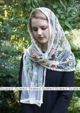 2020 Ivory Blue Black Catholic Veil Jerusalem Muslim Elegant Ladies Flower Lace Shawl Scarf Mantillas Church Bridal Wedding Veil
