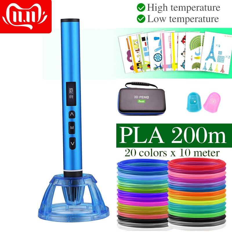 Caneta 3d de alta e baixa temperatura, caneta de impressão 3d, pode usar o filamento do pla de pcl. Caixa de metal com estojo de transporte, presente de aniversário