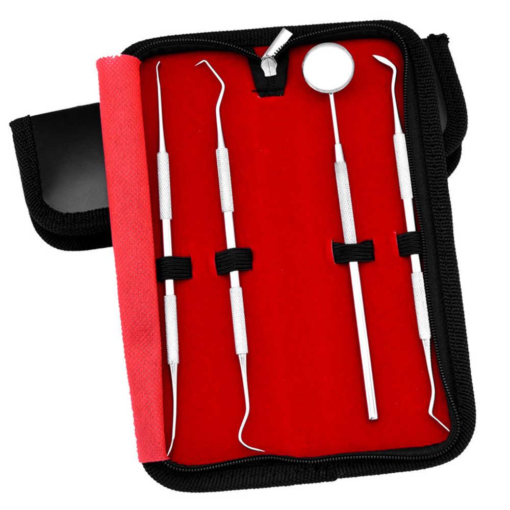 4 ชิ้น/เซ็ตชุดเครื่องมือทันตกรรมสแตนเลสฟัน Scraper กระจกปากทันตแพทย์เครื่องมือฟัน Scaler ฟันเครื่องมือ