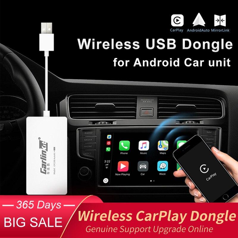 Carlinkit USB CarPlay Dongle/Android AutoสำหรับAndroidเครื่องเล่นมัลติมีเดียสำหรับAndroid iPhoneโทรศัพท์Android Wireless Autokitสีดำ