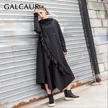Платье galcaur черное с воротником капюшоном и длинными рукавами