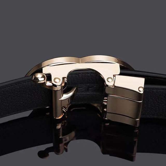 Leather Mens belt Genuine Luxury Brand Designer Leather Strap Automatic Buckle Fashion Belt Gold #19535-37P Fashion & Designs Men's Belt Men's Fashion