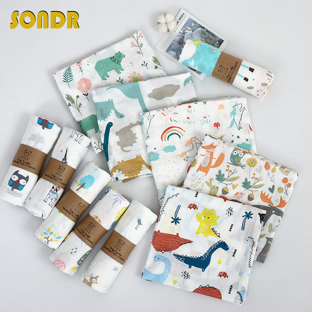 SONDR 110x120cm Size Muslin Baby Cotton Printing Swaddle Multi-use Baby Blanket Diapers Bedding Wrap Towel For Newborn Sleeping