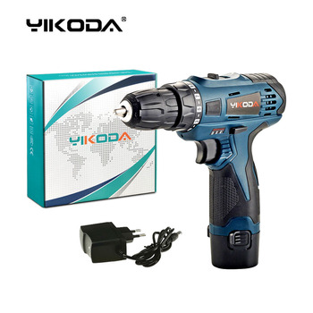 YIKODA Cordless Drill Rechargeable Lithium Battery Power Tools Home DIY 12v Electric Screwdriver