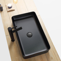 Modern Matte Black Washbasin with Drainers Rectangular /Round Tabletop Basin Ceramic Bathroom Sink Household Products Art Vessel
