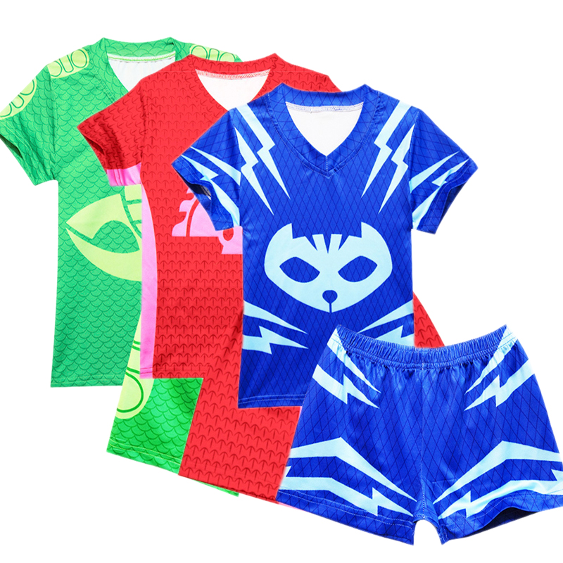 PJ Masks Catboy Gekko Owlette Boys Suit Swimsuit Set Short Sleeve Shorts Cosplay Suit Jewelry Swimsuit Shorts Swimming Cap