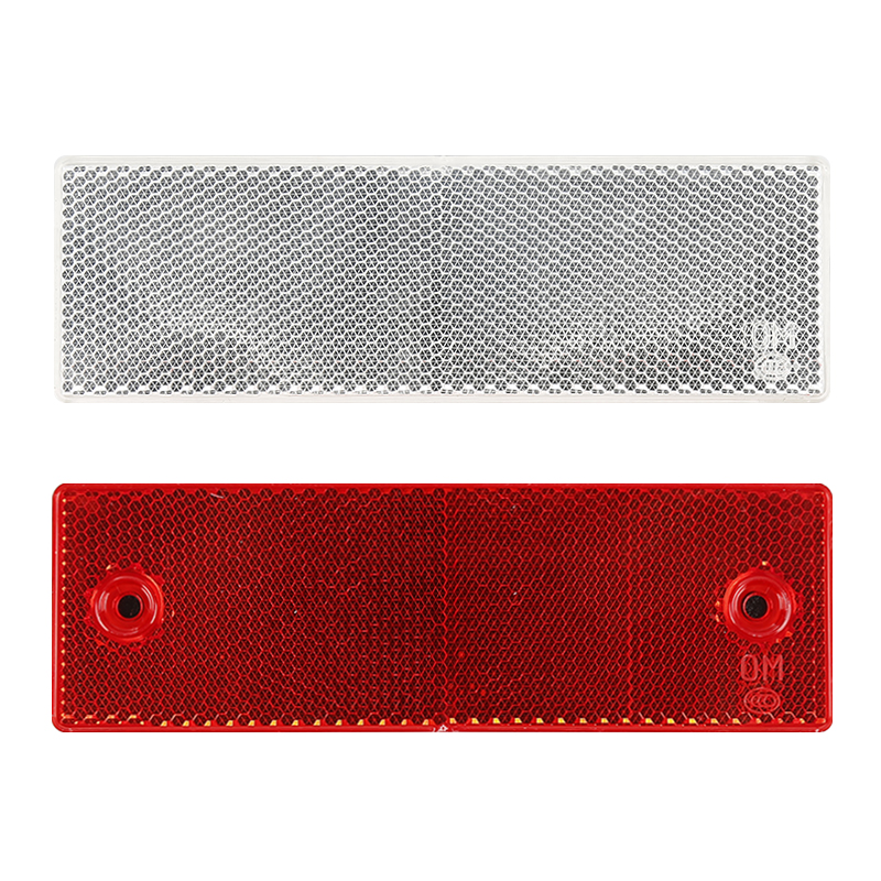 2PCS Red Plastic Rectangle Anti-Collision Reflector for Trailer Truck Bus Car