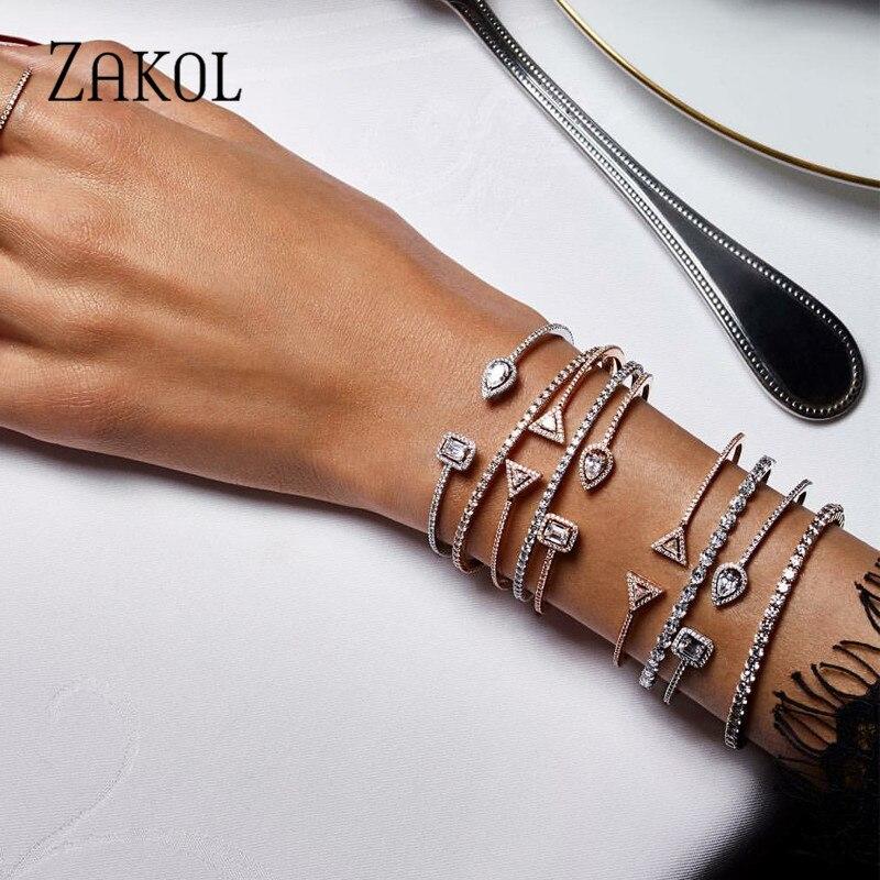 ZAKOL Модный изысканный круглый и капли воды микро проложить циркония браслет кафф с кристаллами браслет для женщин платье ювелирные изделия FSBP2009