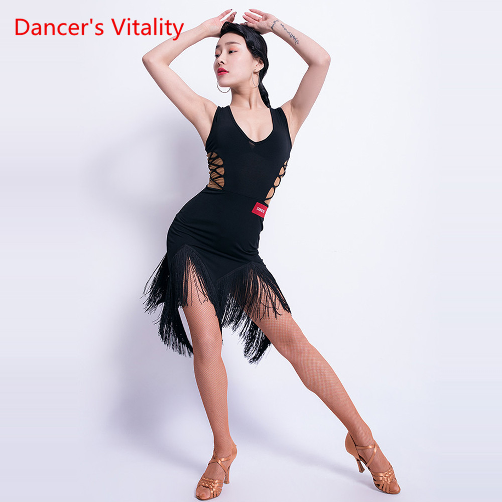 Sexy Latin Dance Dress Female Adult Dress New V-neck Tassel Performance Dance Costume Rumba Samba Competition Dance Wear