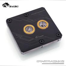 Черный кулер для процессора Bykski поддержка LGA3647 SKYLAKE блок водяного охлаждения процессора, кулер процессора CPU SKYLAKE E V2