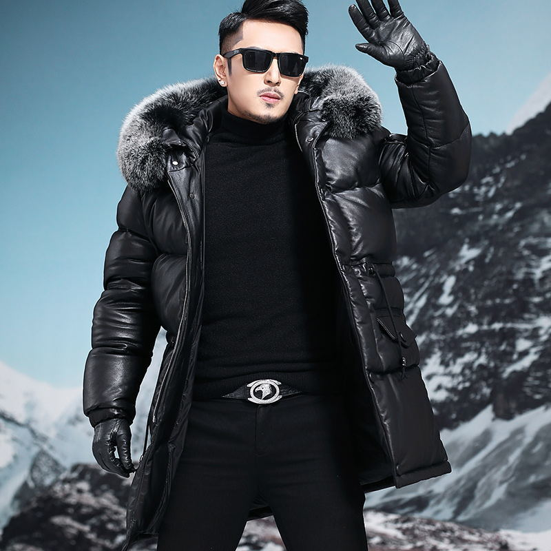 Men Cow Leather Jacket Thick Winter Fox Fur Collar Hooded Mens Duck Down Coat Jaqueta De Couro 31-2212002M2 YY583