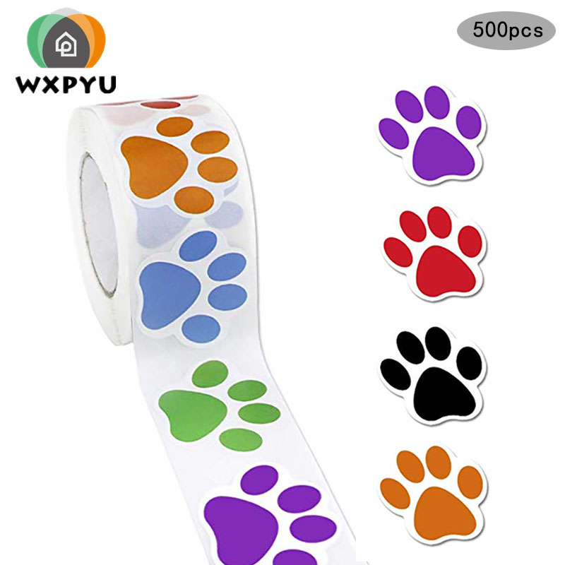 500pcs/roll Colorful Paw Print Stickers Dog Cat Bear Paw Labels Stickers Of 6 Colors Reward Sticker Stationery Teacher For Kids