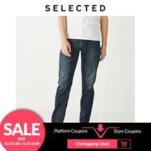 SELECTED Mens Slight Stretch 데님 바지 New Regular Casual Tapered Tight leg Jeans S