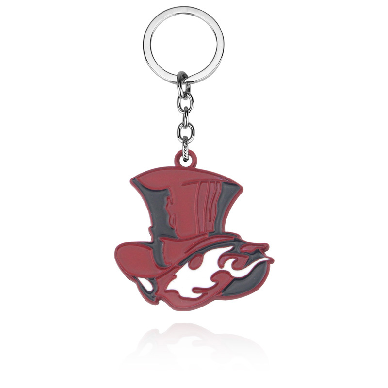 Japanese Game Persona Keychain Take Your Heart Logo Red Hat Key Chain for Women Men Car Keyring Choker Souvenir Gift image
