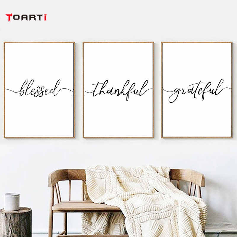 Thankful grateful with line quotes poster Minimalist canvas painting bedroom Black and White picture wall art prints wall decor