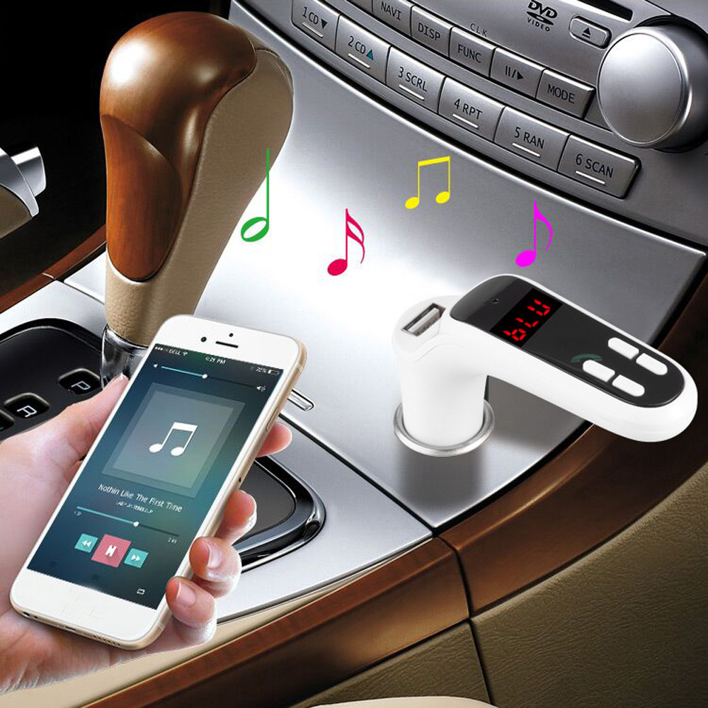 Car charger for mobile phone fast charging car kit hands-free FM transmitter radio MP3 player USB charger and AUX