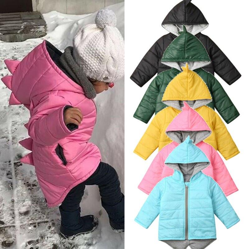 1-7 Year Baby Girls Boys Parka Light Kid Jacket Hooed Down Coat Winter Children Jacket Spring Fall 3D Dinosaur Toddler Outerwear