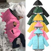 1-7 ano Bebê Meninas Meninos Parka Luz Hooed Jaqueta Criança Para Baixo Casaco de Inverno Jaqueta Crianças Primavera Queda 3D dinossauro Da Criança Outerwear