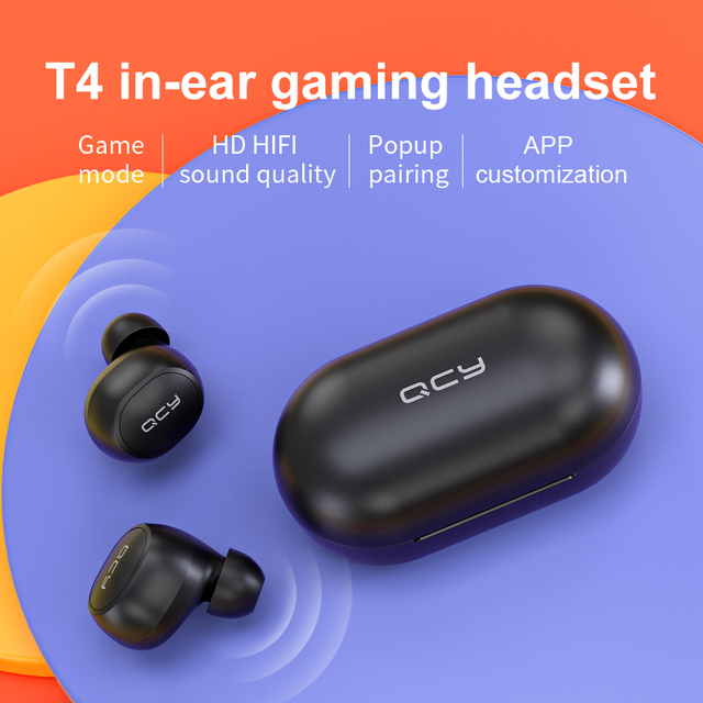 QCY T4 TWS Bluetooth V5.0 Sports Wireless Earphones APP Customization 3D Stereo Headphones Mini in Ear Dual Microphone 1