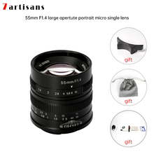 7artisans 55mm F1.4 Large Aperture Portrait Manual Focus Micro Camera Lens Fit for Canon eos m Mount  E Fuji Mount Free Shipping