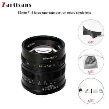 7artisans 55mm F1.4 Large Aperture Portrait Manual Focus Micro Camera Lens Fit for Canon eos-m Mount  E Fuji Mount Free Shipping зеркальная фотокамера canon eos 4000d kit 18 55mm 24mp черный 3011c003