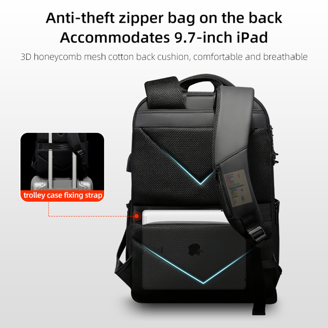 Fenruien New Fashion Waterproof Backpack Anti-Thief School Backpacking Fit for 15.6 Inch Laptop Men Travel Business Backpacks 5