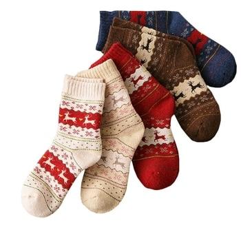1Pair Warm Women Socks Striped 3D Autumn Winter Style Christmas For Woman Female Happy Sock Calcetines Meias - discount item  44% OFF Women's Socks & Hosiery